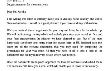 Tourist US Visa Invitation Letter