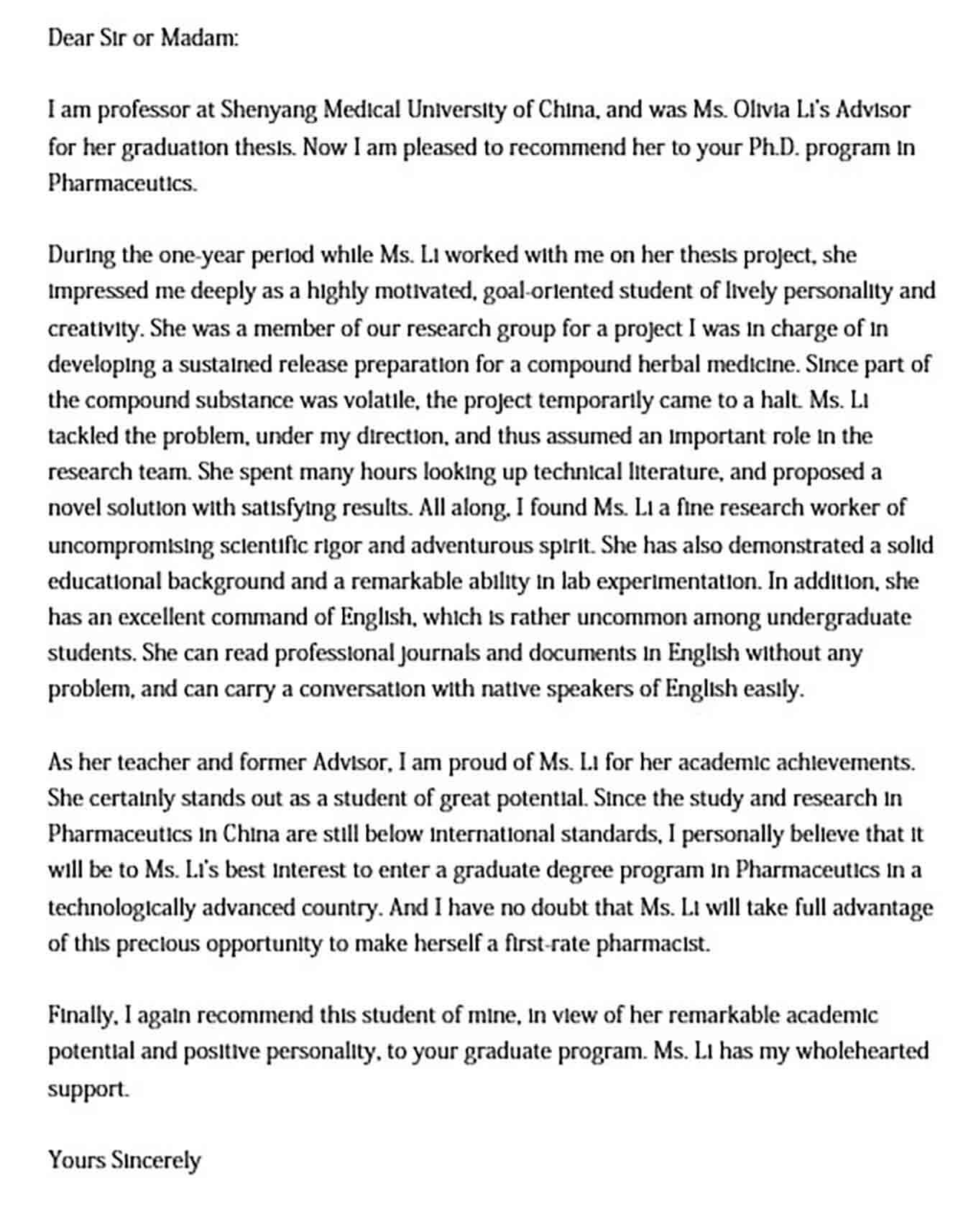 University Medical School Recommendation Letter