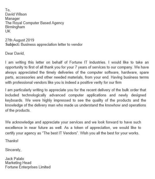 Vendor Service Appreciation Letter