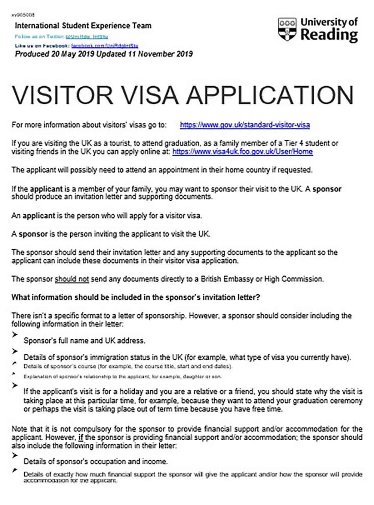 Visa Apllication Sponsorship Letter