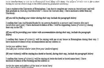 Visitor Visa Sponsorship Letter