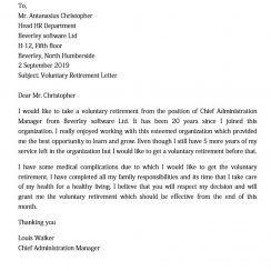 Voluntary Retirement Letter