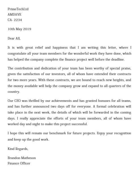 Work Completion Appreciation Letter