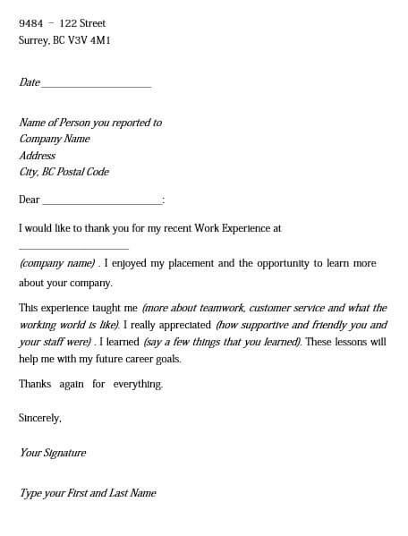 Work Experience Appreciation Letter