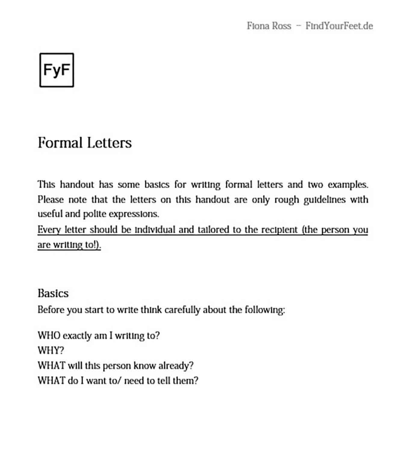able Formal Letter Format