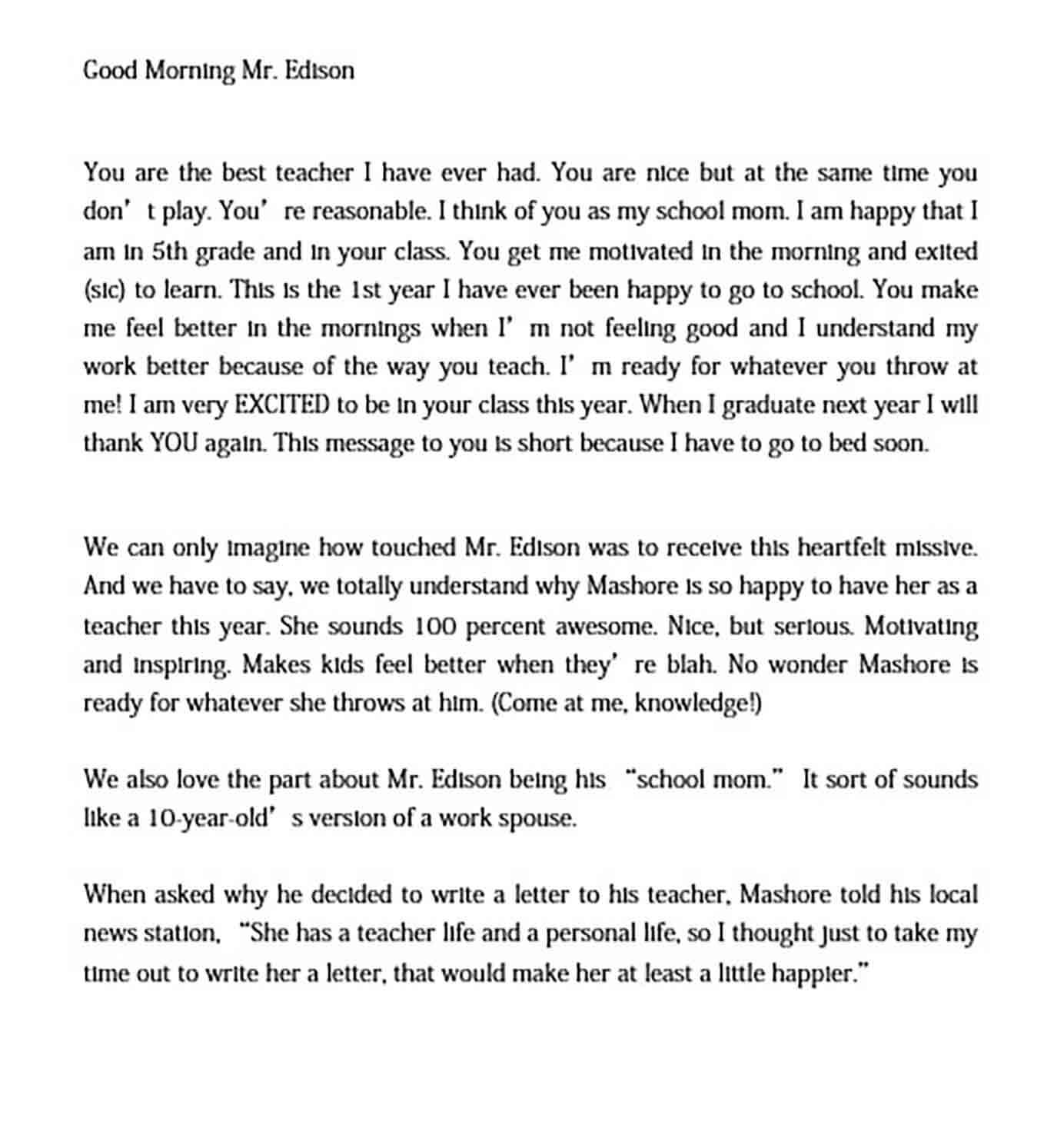 able Thank You Letter to Teacher for