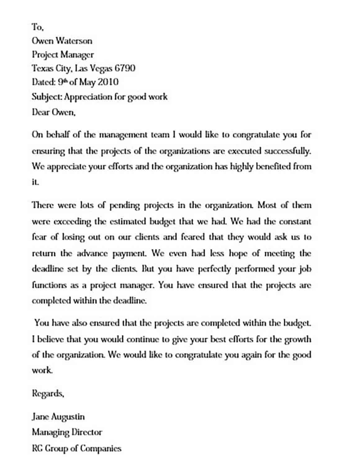 appreciation letter for good work