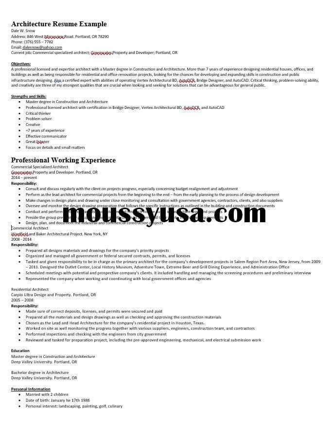architecture resume sample