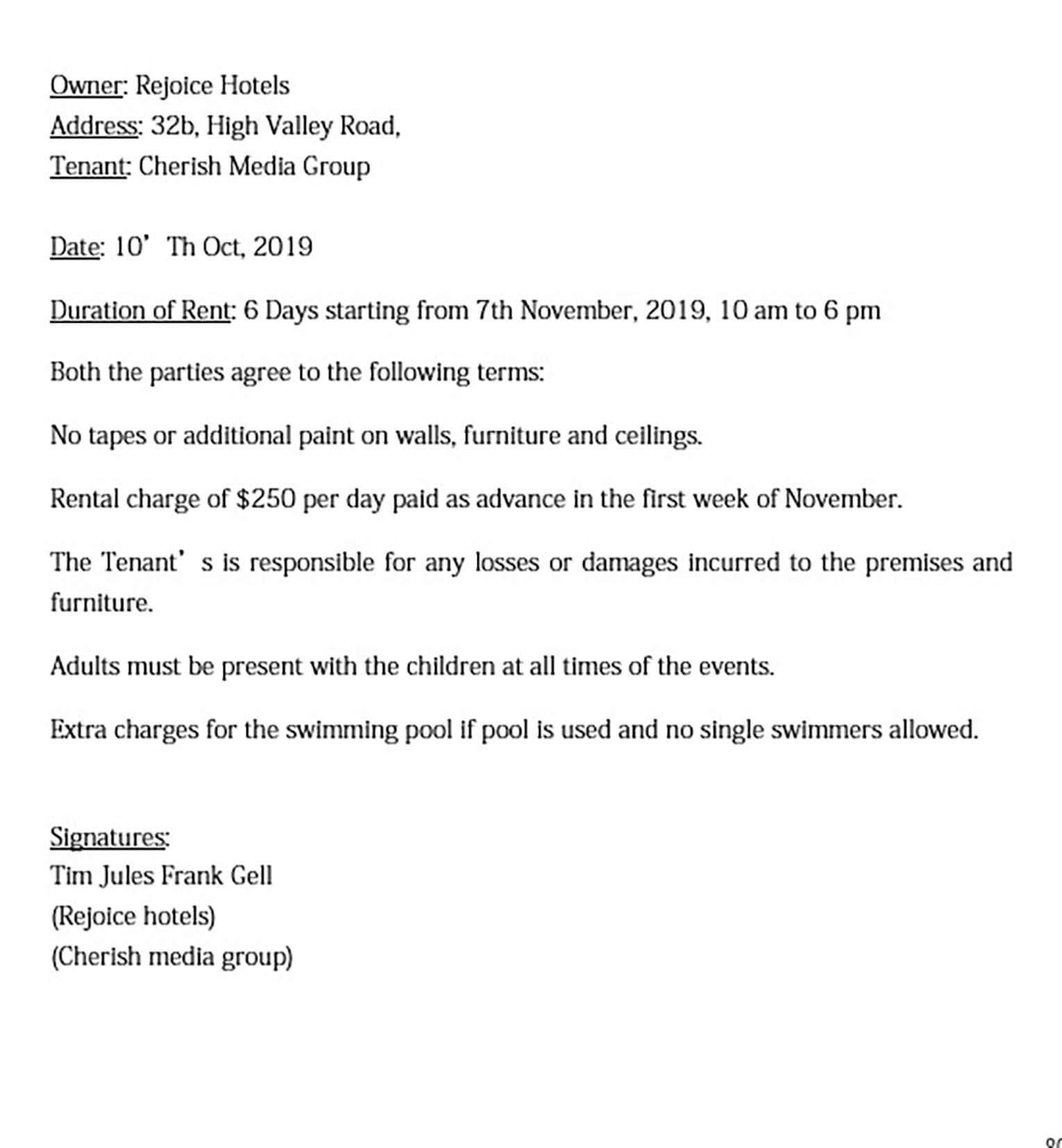 basic banquet room rental agreement