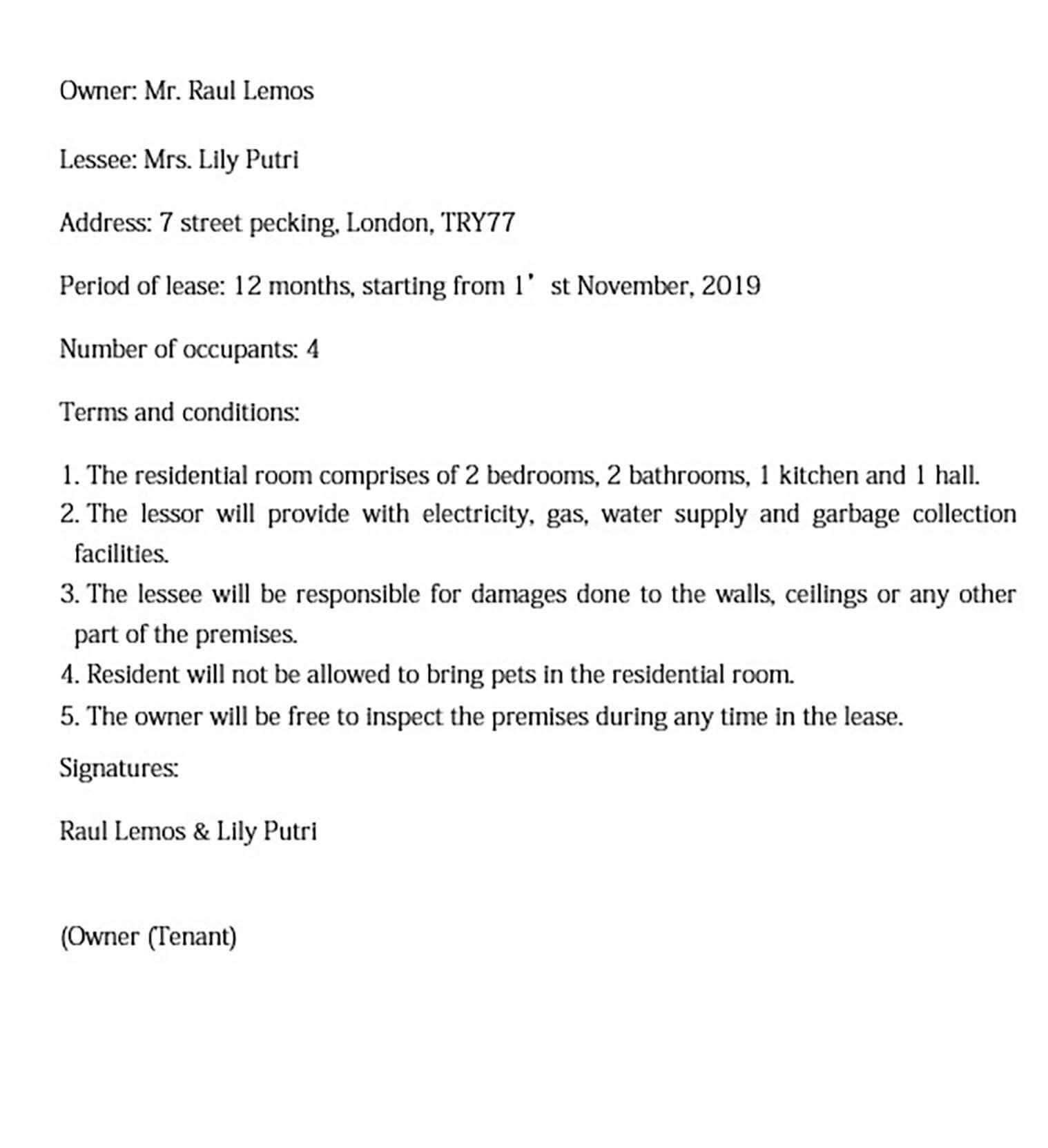 basic residential room rental agreement