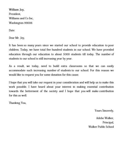 business donation request letter