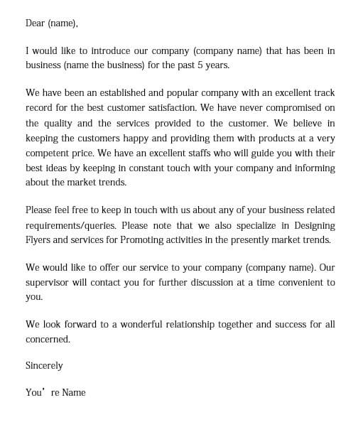 business introduction letter templates