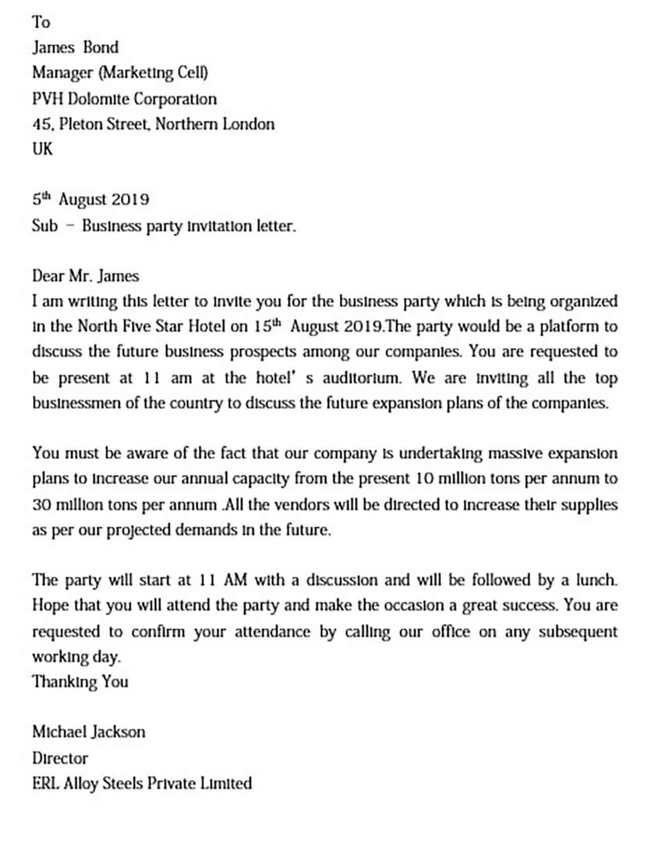 business party invitation letter