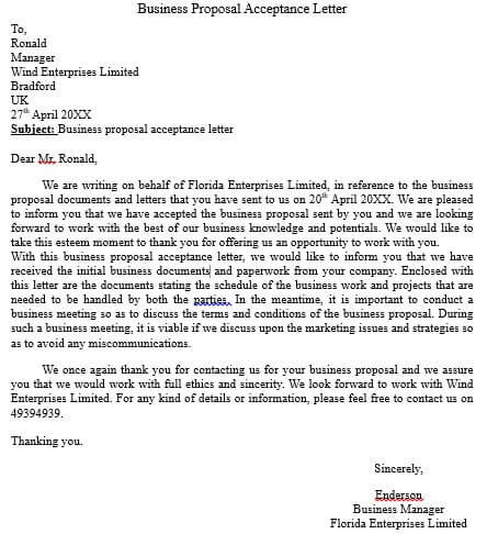 business proposal acceptance letter