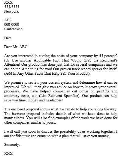 business proposal letter writing