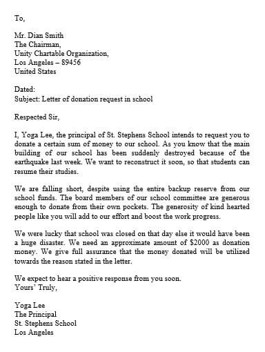 donation request letter for school