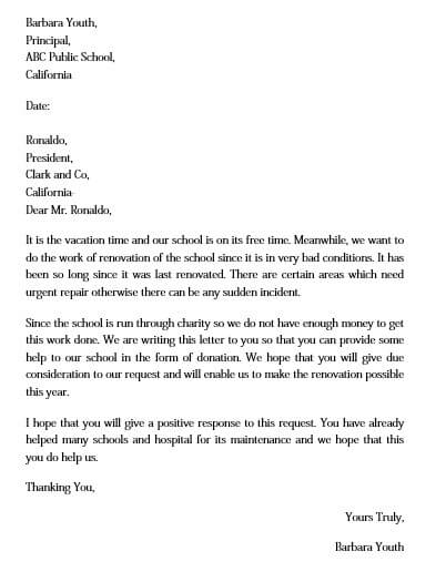 donation request letter sample