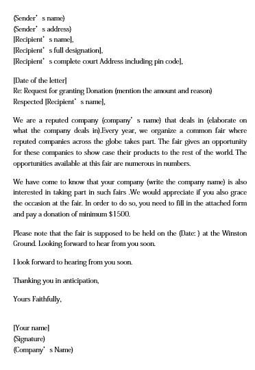donation request letter templates