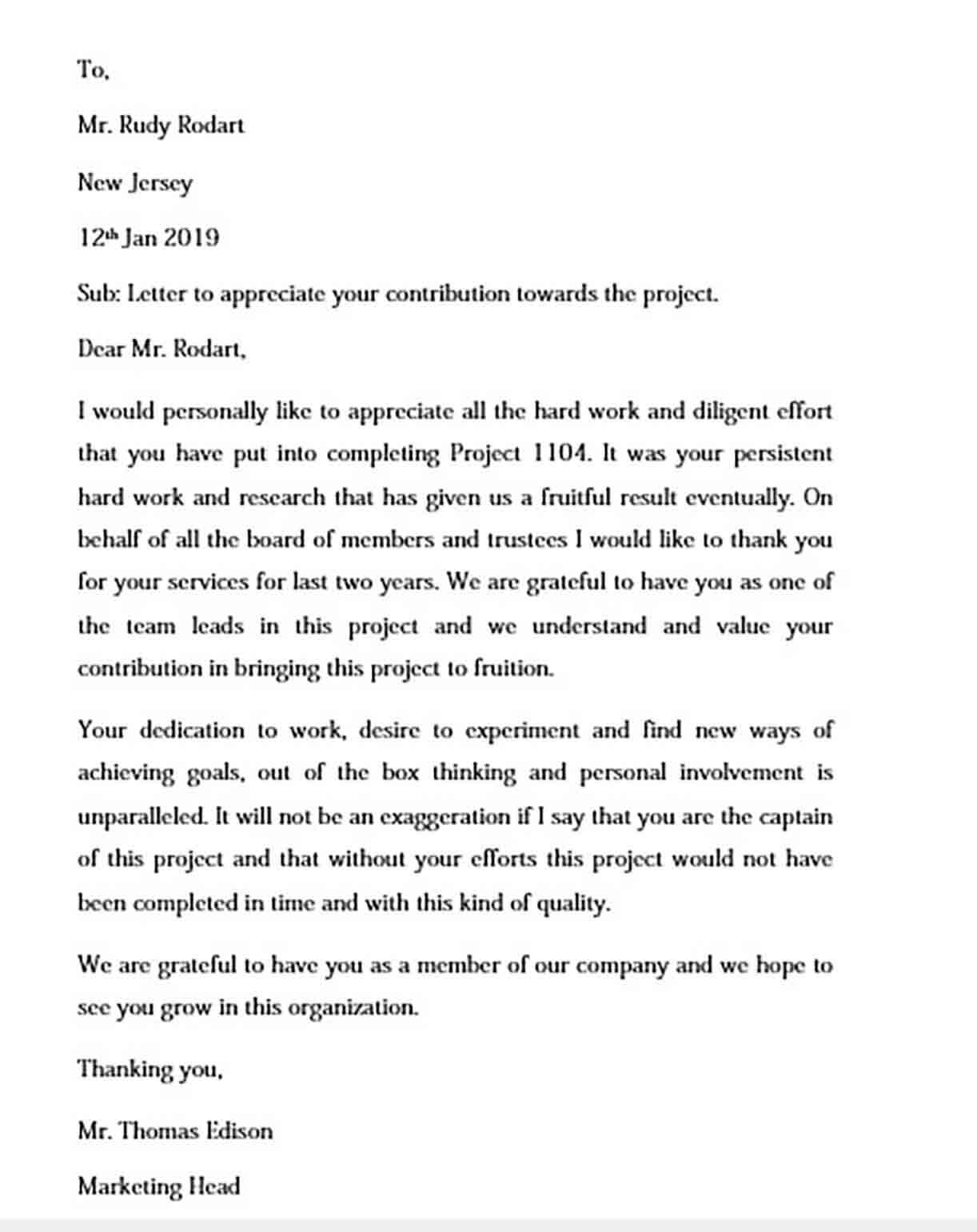 employee appreciation letter templates