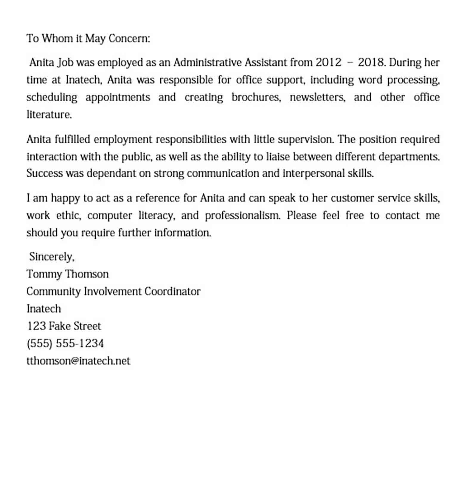 Recommendation Letter Sample For Job from moussyusa.com