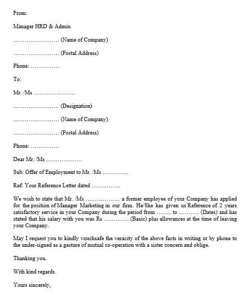 employement verification letter format