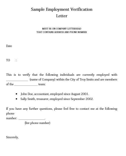 employment verification letter form