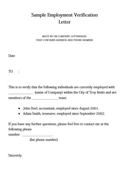 example of employment verification letter