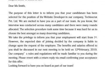 executive employment offer letter