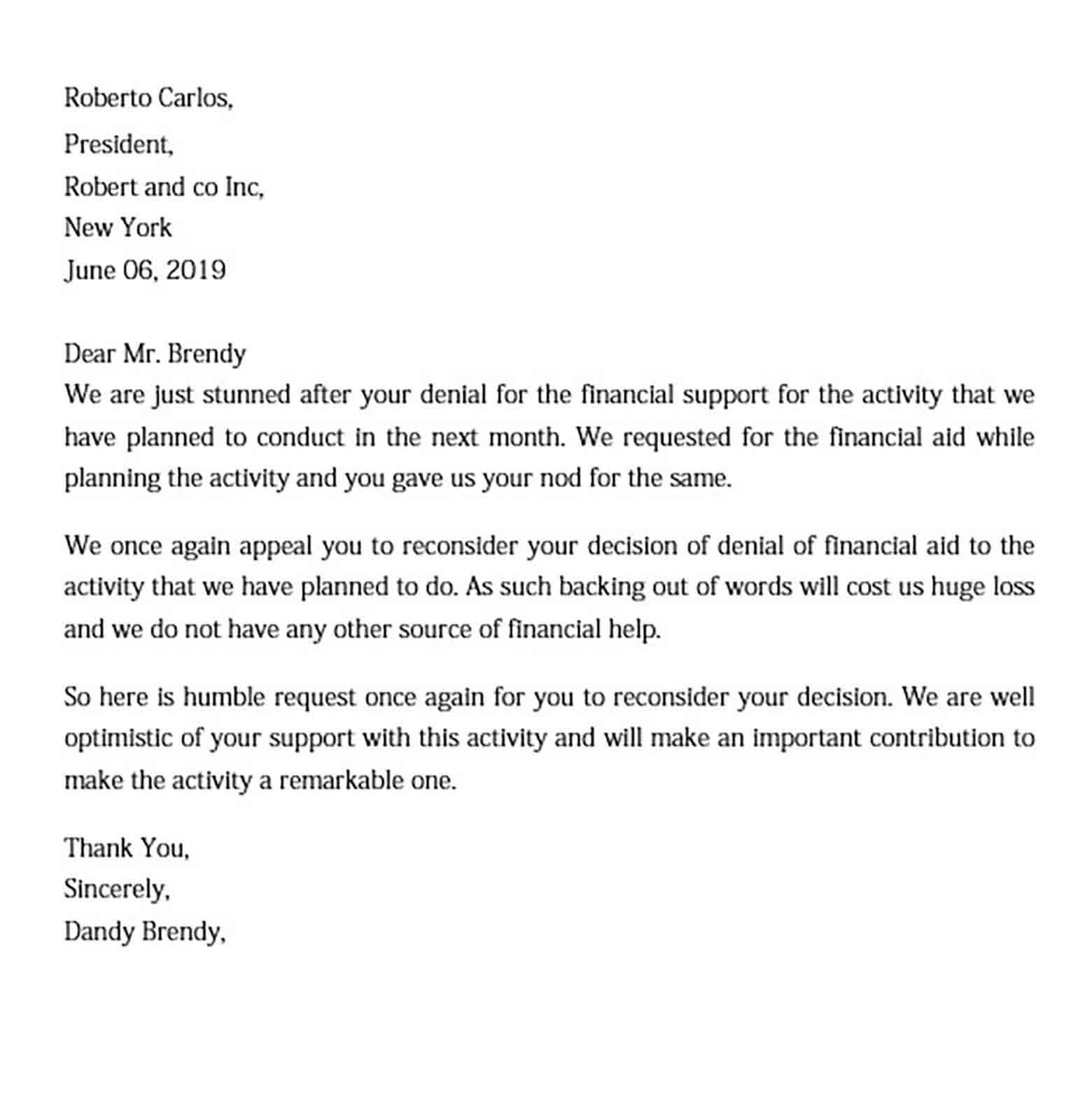 Sample Letter For Financial Assistance from moussyusa.com