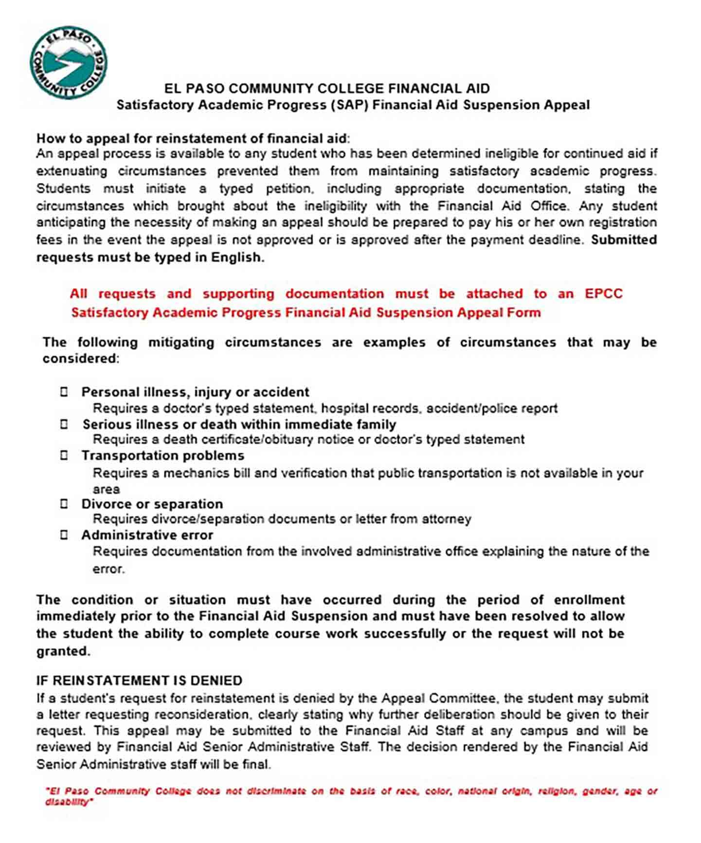 financial aid suspension appeal