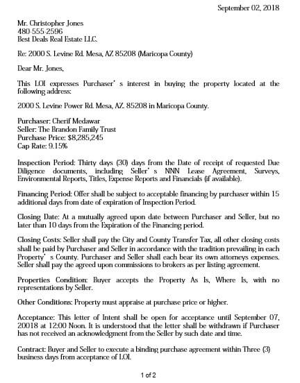 formal letter of intent to purchase property