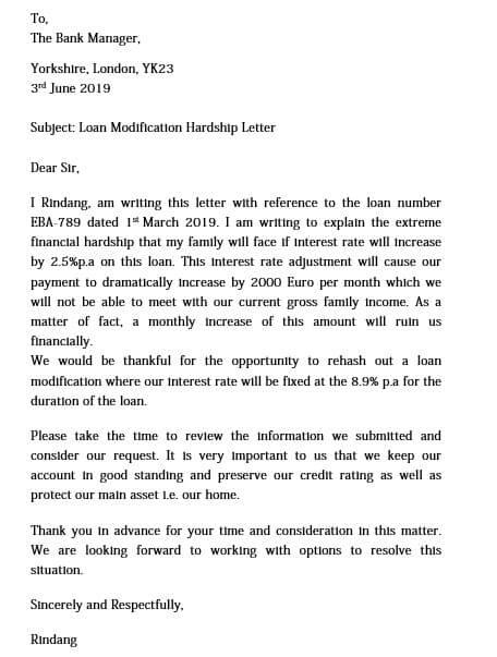 hardship letter loan modification