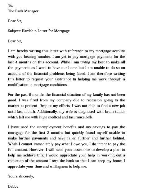 hardship letter templates