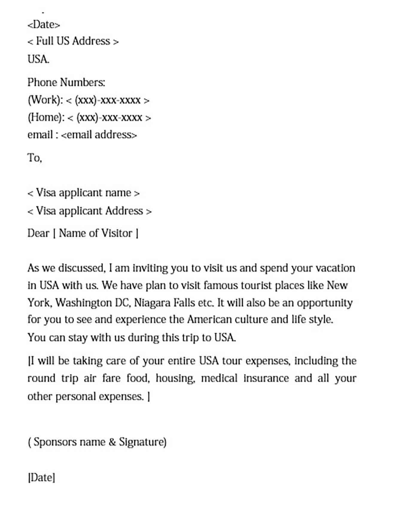 invitation letter for tourist visa