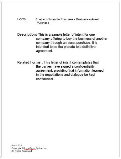 letter of intent to business purchase property