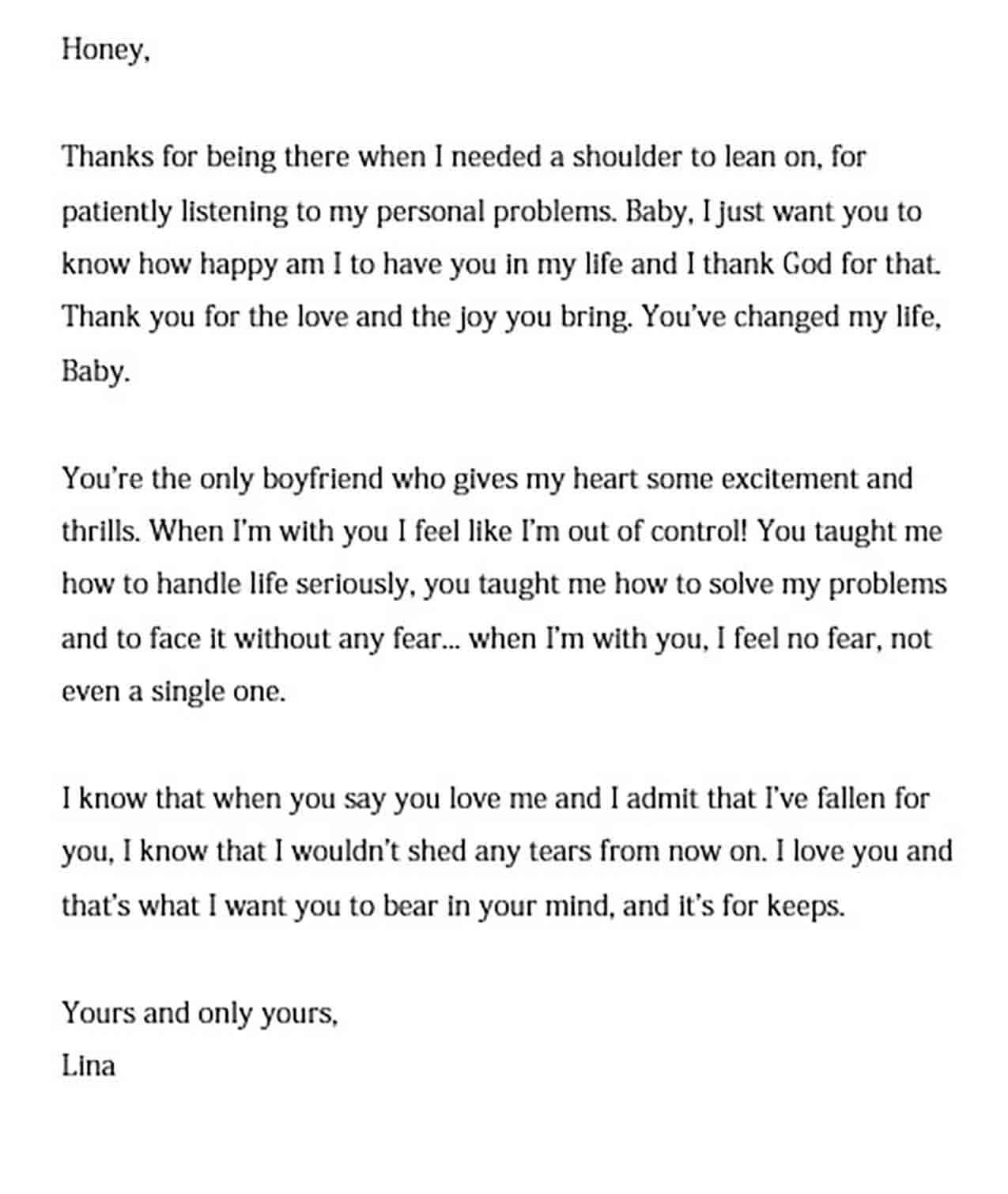 love letter to write a boyfriend