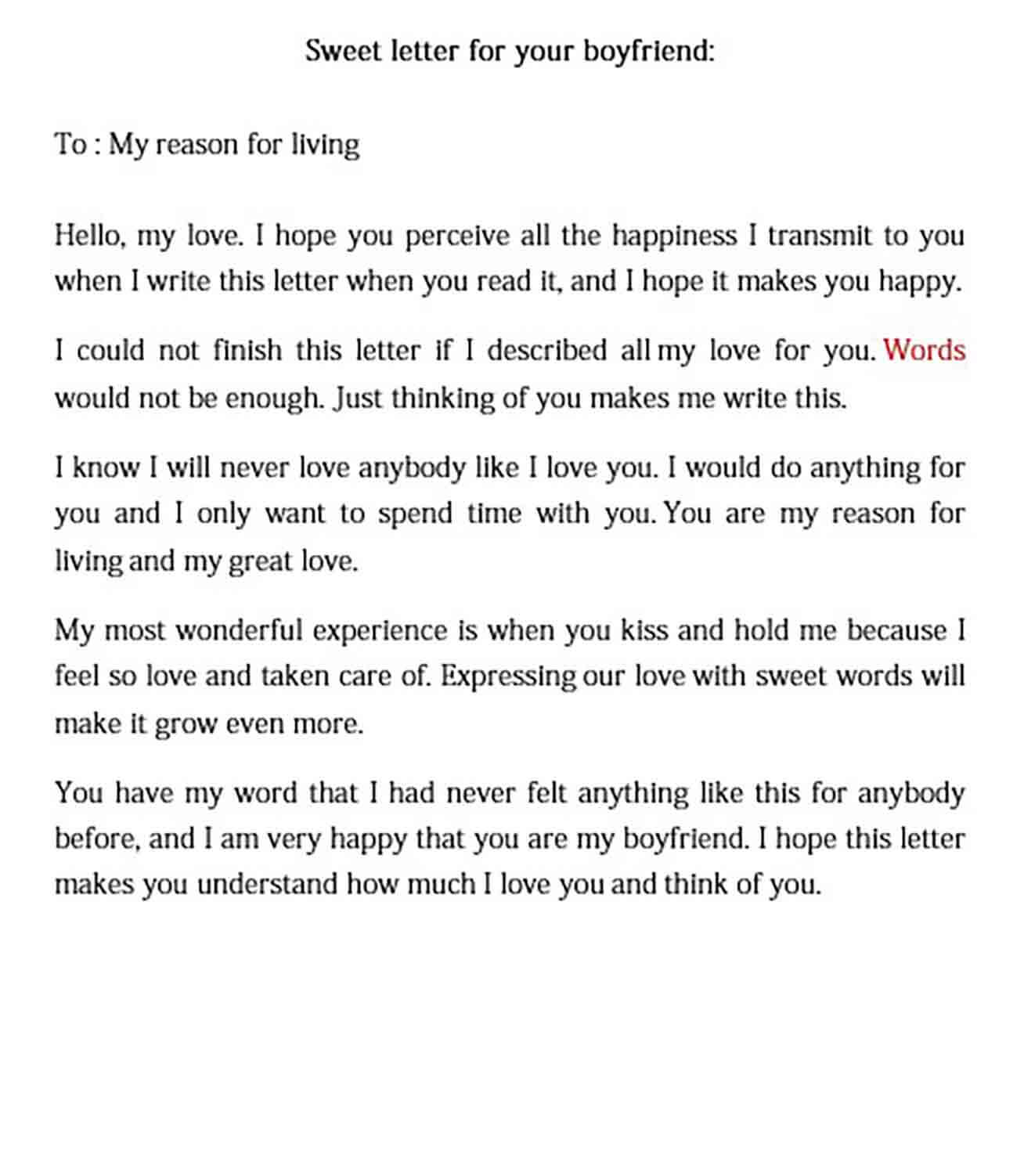 love letter to your boyfriend