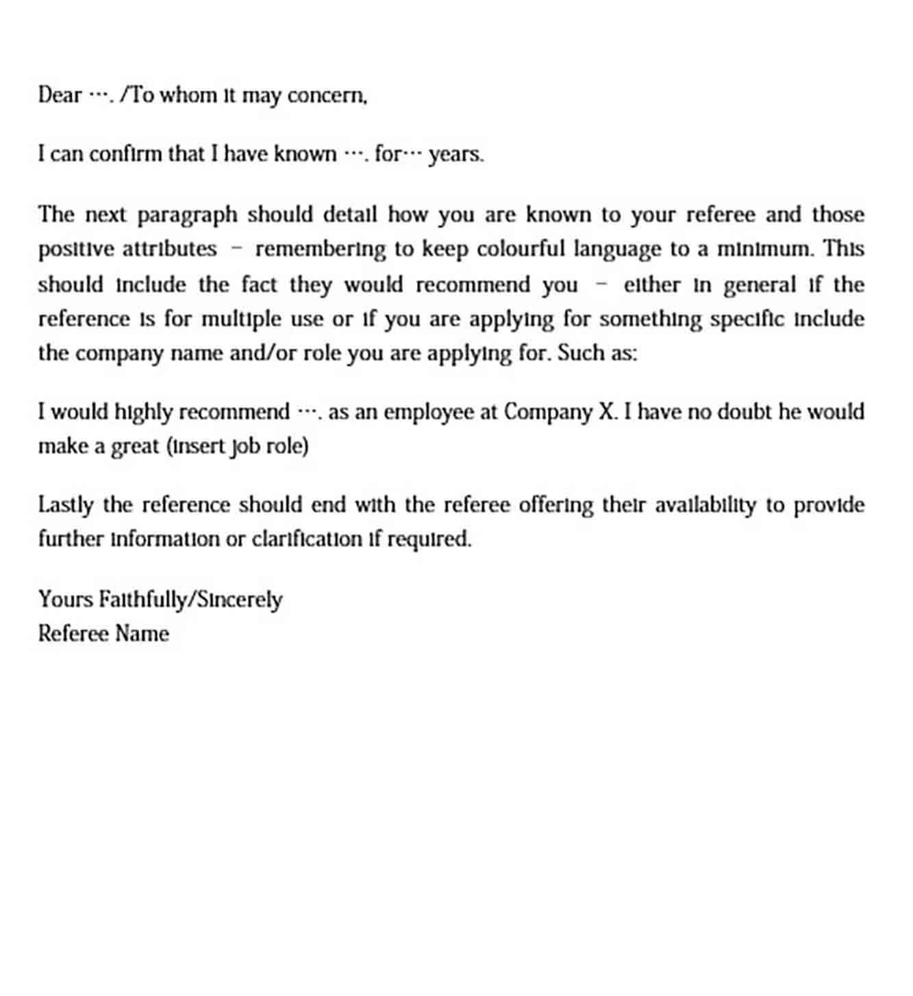 personal reference letter templates