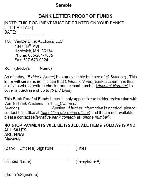 proof of funds letter from bank