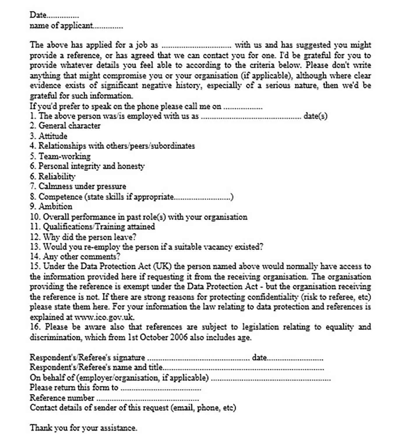 request for reference letter templates