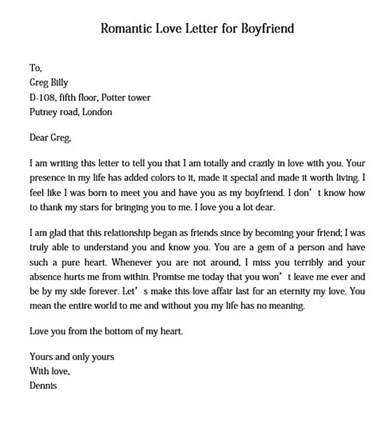 romantic love letter for boyfriend