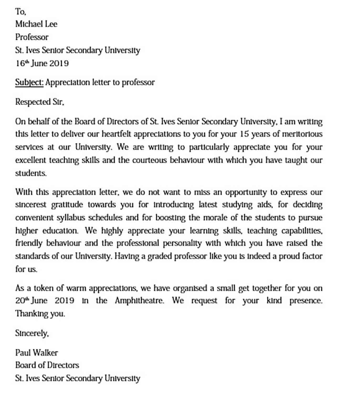 sample appreciation letter templates