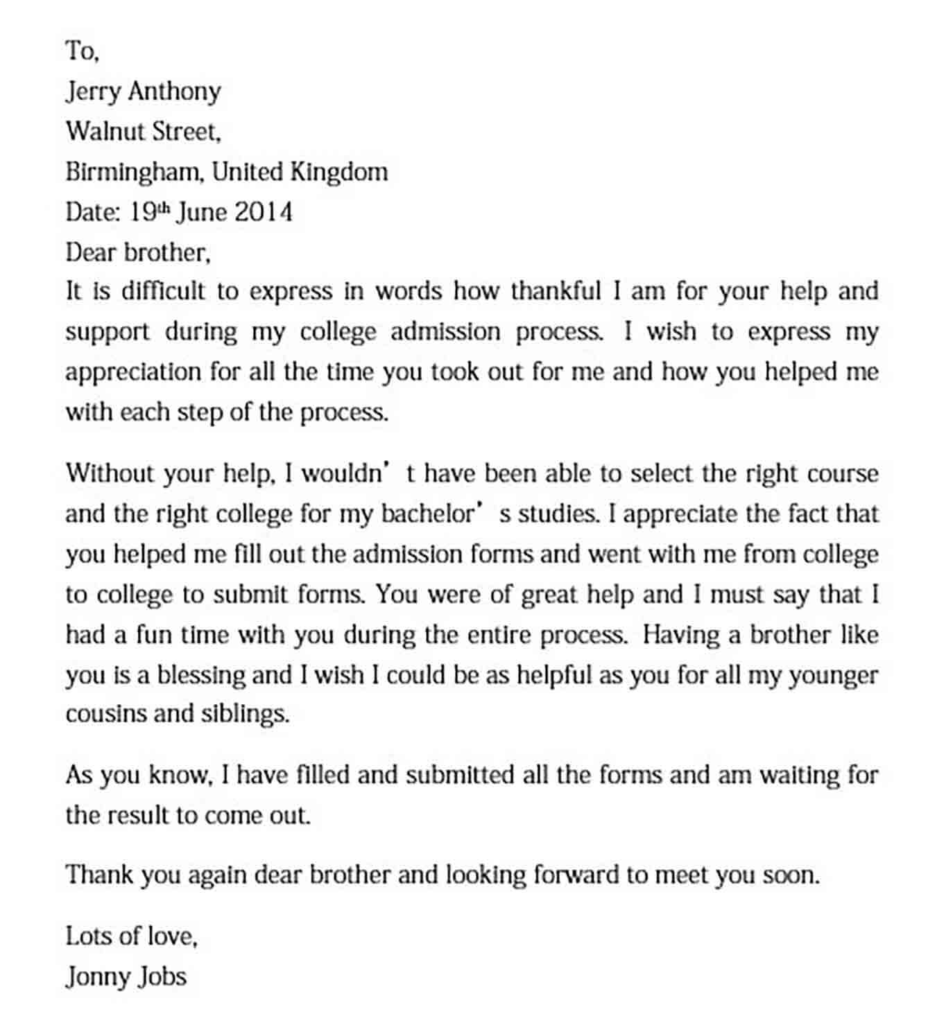 sample appreciation letter to brother