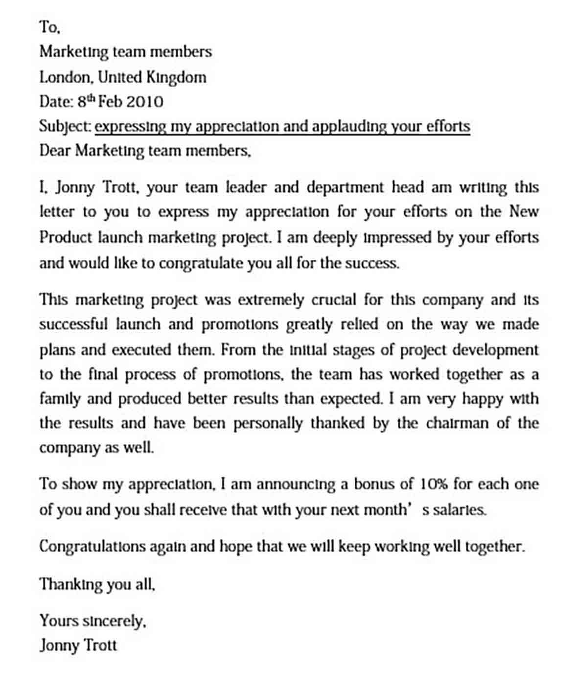 sample appreciation letter to employees