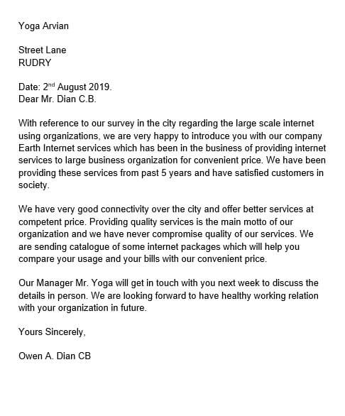 sample business introduction letter new business