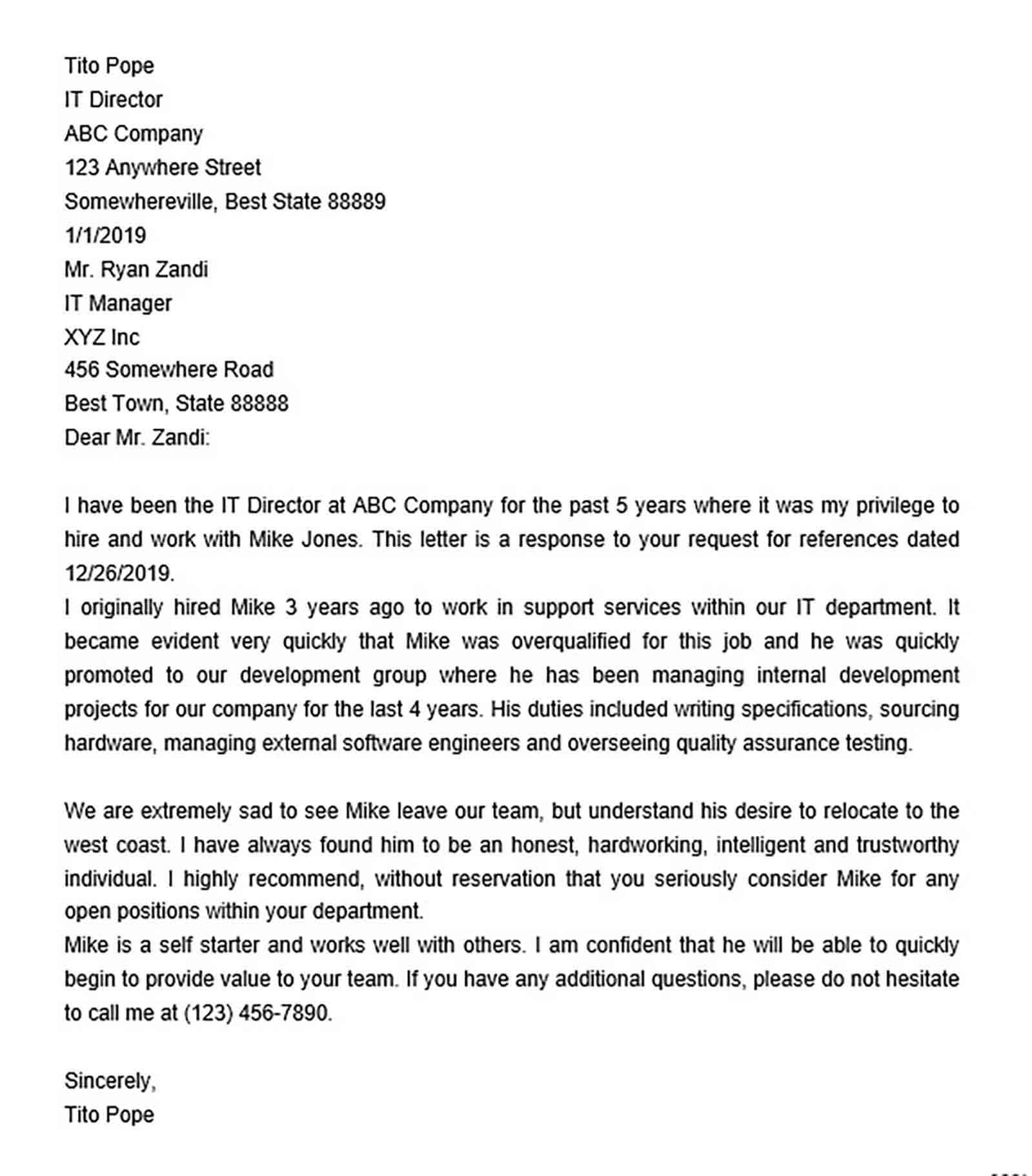 sample employment recommendation letter