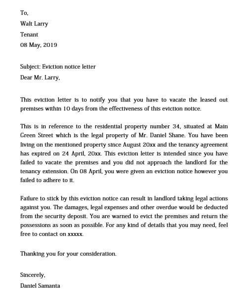 Free Eviction Notice Letter from moussyusa.com