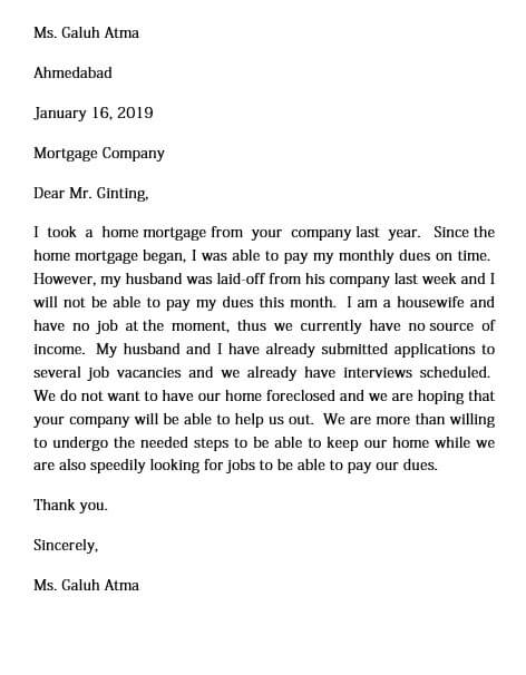 sample hardship letter word