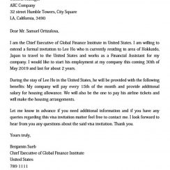 sample invitation letter for business visa