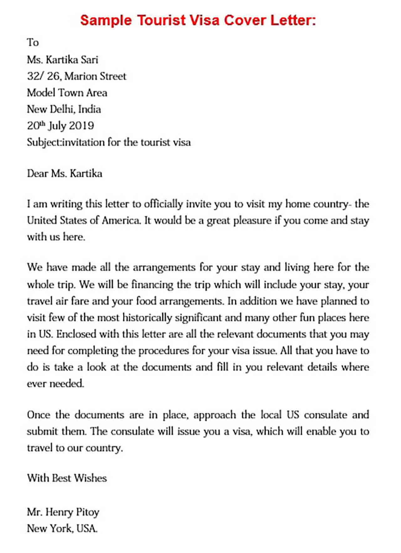 sample tourist visa cover letter